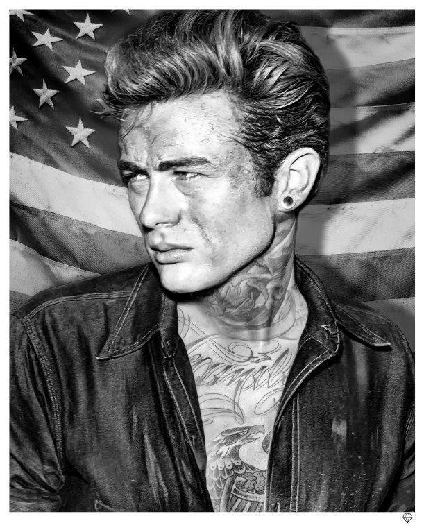 James dean tatto art print by jj adams