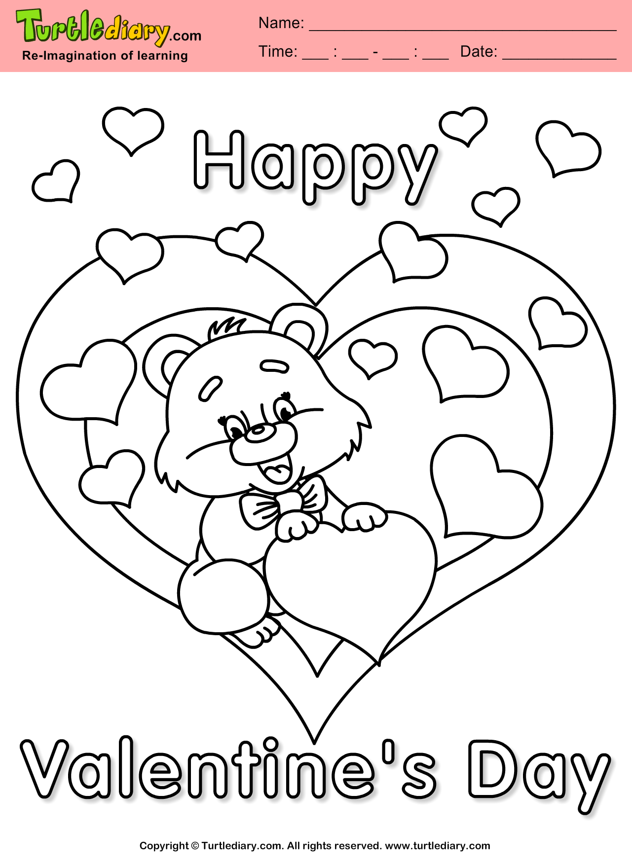 Teddy Bear with Heart Valentine's Day Coloring Page.