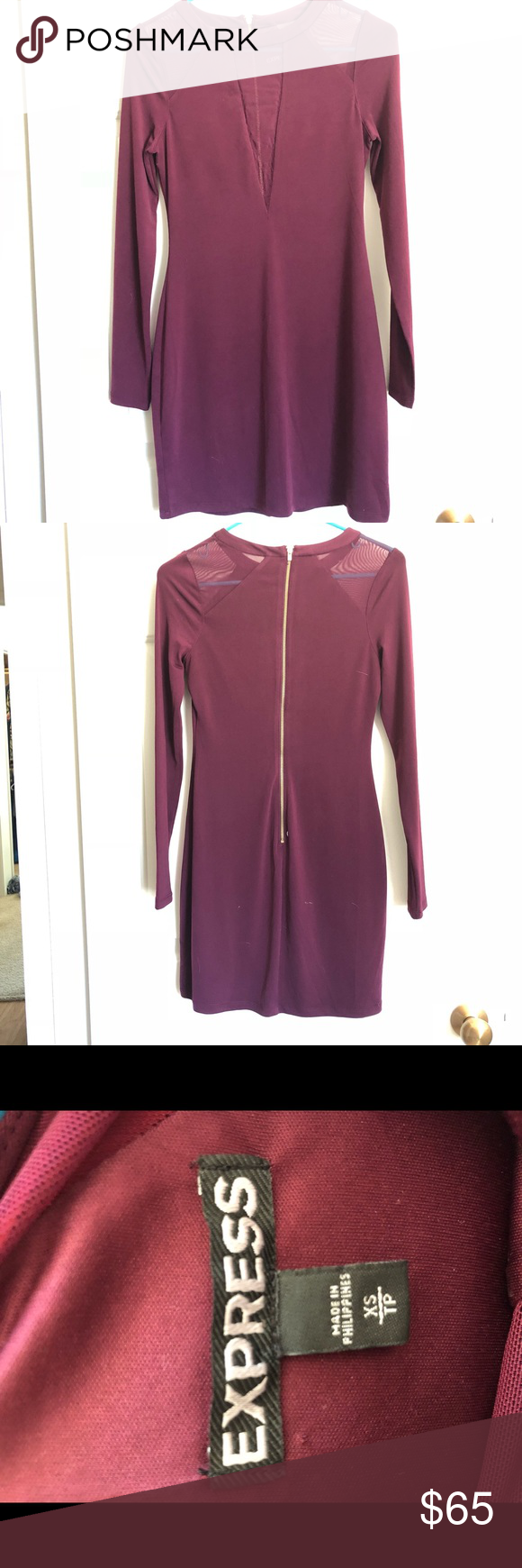 Express cocktail Dress | Sheer material and Maroon color