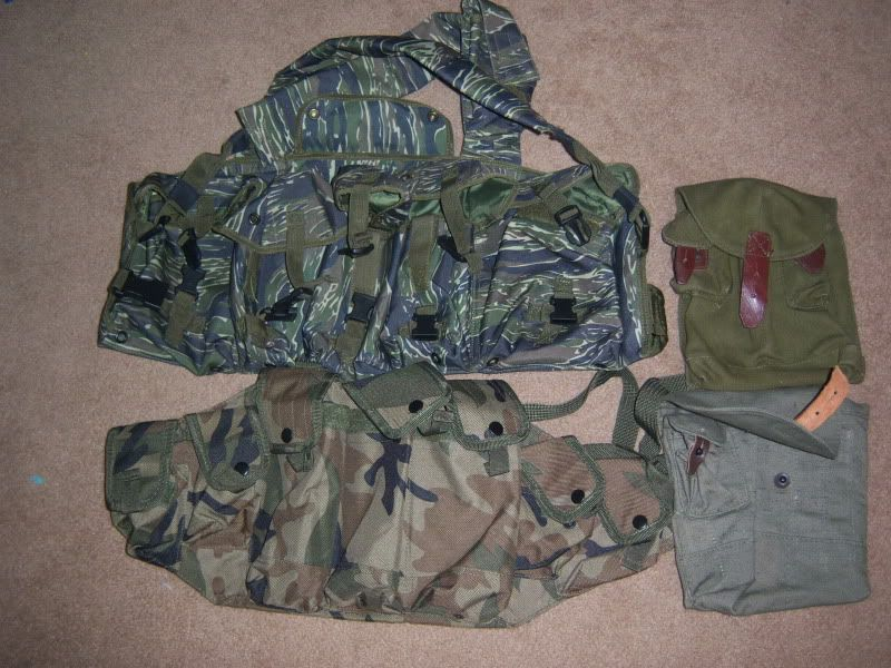 """""""7 pocket"""" chest rig, Tiger stripe $18 """"2nd Generation"""" camo Chicom chest rig (made of synthetic material, has velcro and snap closures, added fastex buckle on back strap) SOLD"""