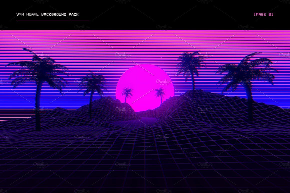 Synthwave Retrowave Background Pack Youtube banner