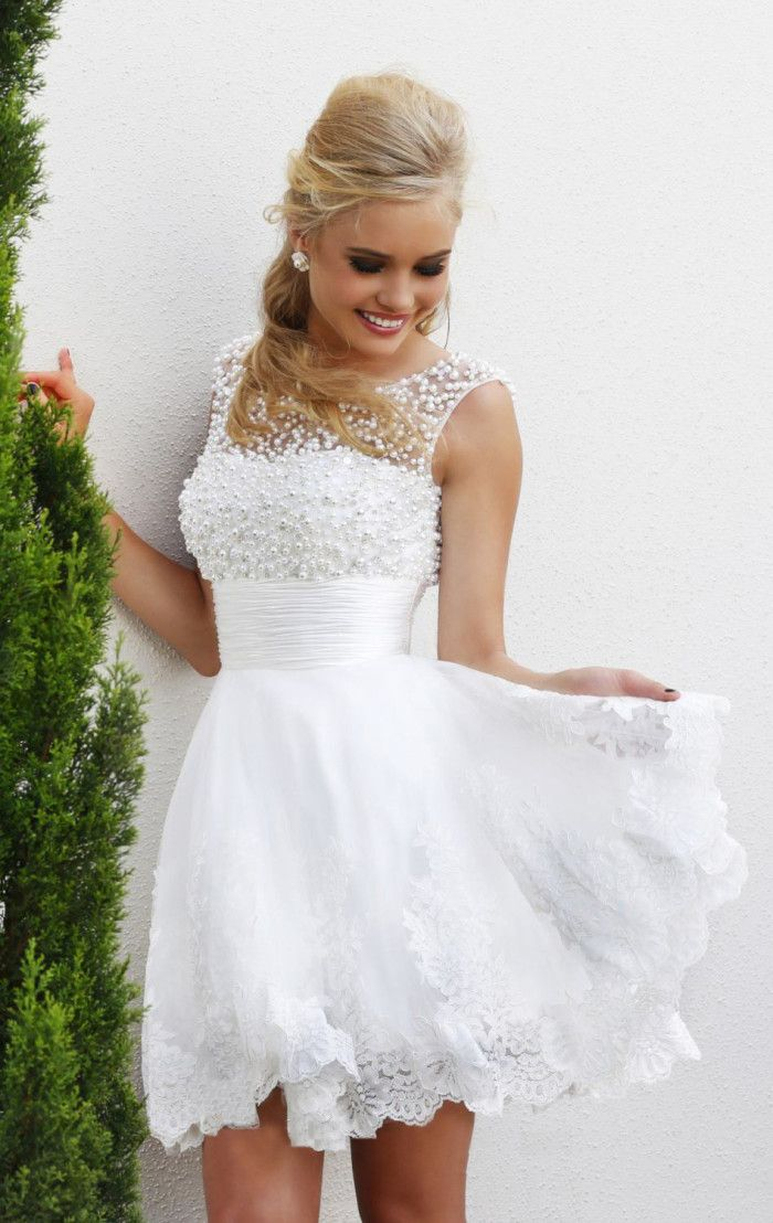 New 2015 white short wedding dresses the brides sexy lace wedding ...