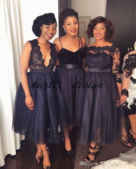 Short Tea-length Navy Blue Lace Tulle Bridesmaid Dresses