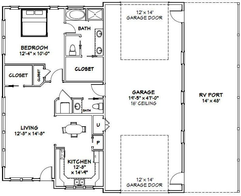 46x48 House 1 Bedroom 1 5 Bath 1 157 Sq Ft Pdf Floor Plan Instant Download Model 3b Floor Plans Garage House Plans House Floor Plans