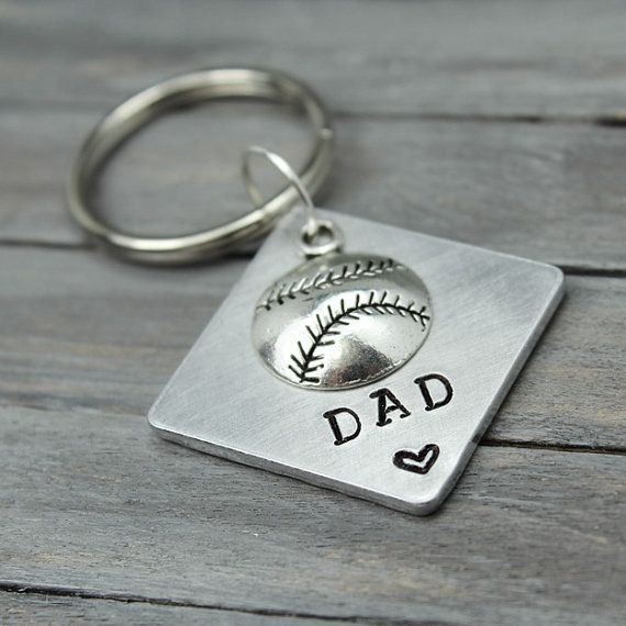 Baseball Chain,  Dad Key Chain, Stamped Key Chain, Personalized Key Chain, Gifts For Dad, Dad Gifts, Gifts For Him