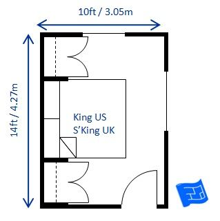 Bedroom Design For King Size Bed 10 X 14ft It Would Be Possible To Squeeze The Bed In With The Bed Alon Bedroom Size Small Master Bedroom Small Bedroom Layout