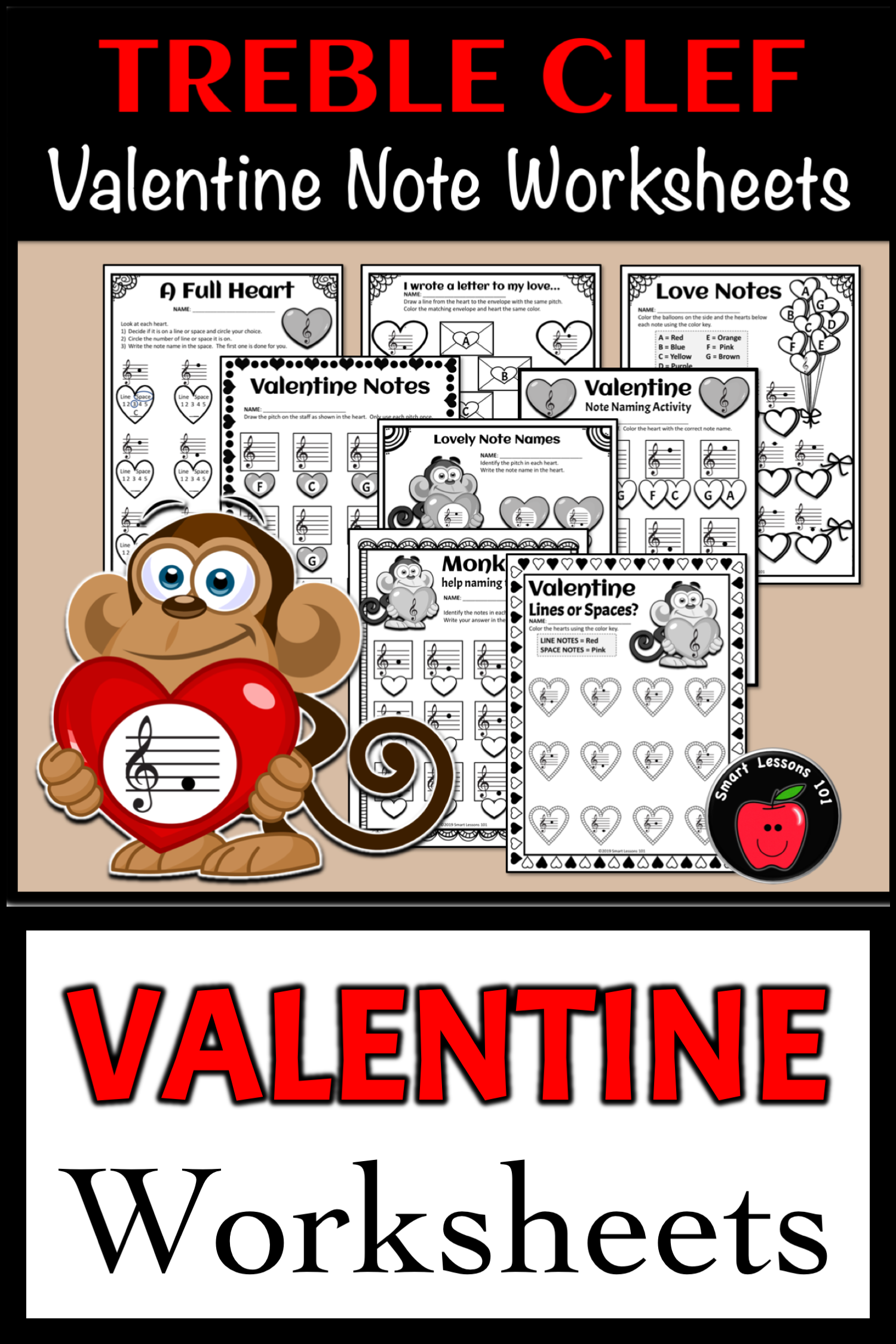 Valentines Day Music Worksheets Treble Clef Amp Bass Clef