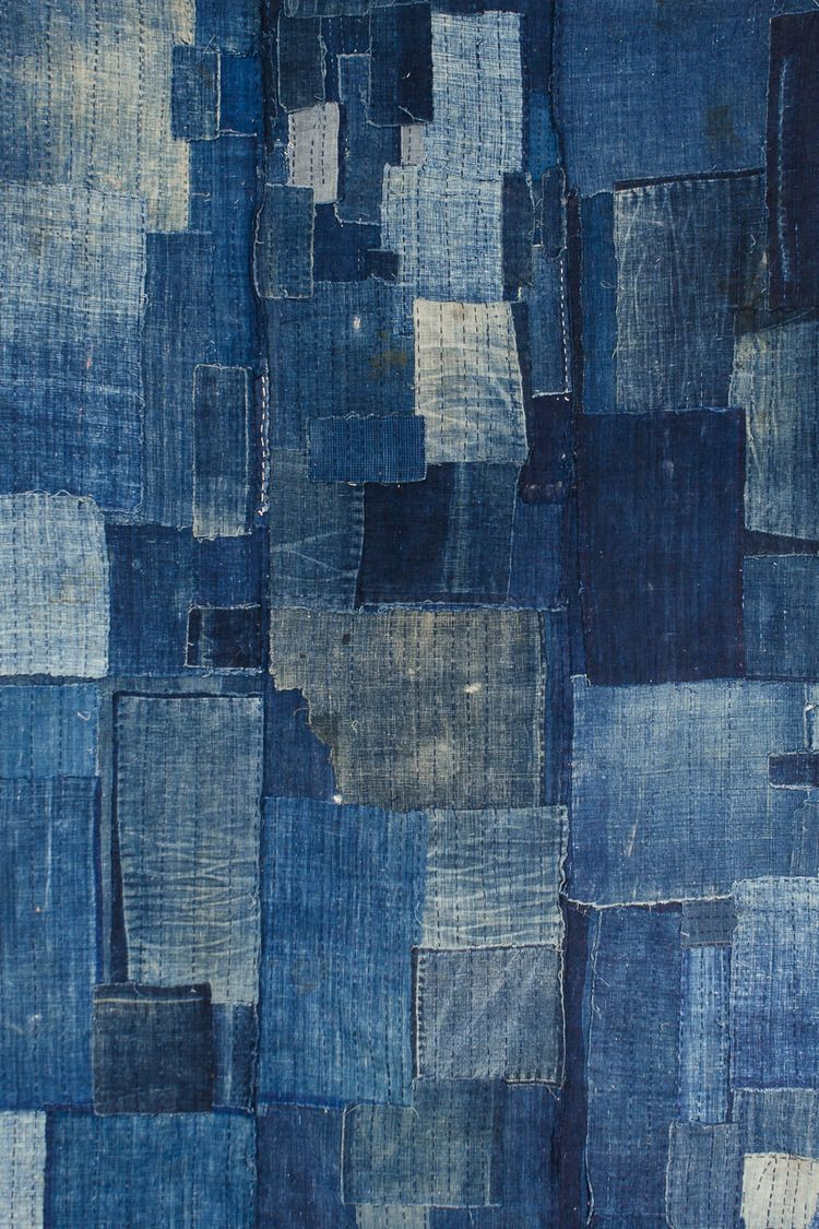 An Antique Japanese Textile: A Heavily Patched Indigo Boro futon — Orime