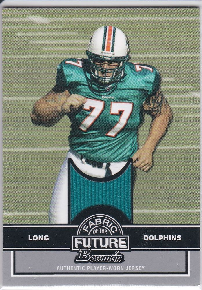 04da331268b Miami Dolphins Jake Long 2008 NFL Rookie Fabric Of The Future Bowman Patch  Card #MiamiDolphins