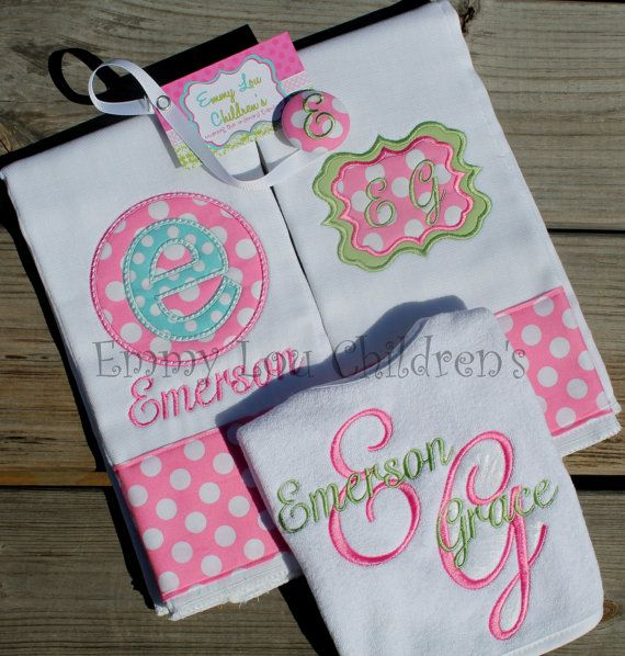 Monogrammed baby girl burp bib and bodysuit set take home outfit items similar to monogrammed baby gift set set of two monogrammed burp cloths coordinating pacifier clip and monogrammed bib custom gift set on etsy negle Gallery