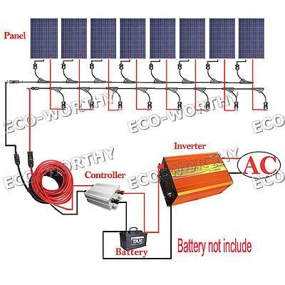 800w solar system kit 8 100w solar panel w 3000w off grid inverter rh pinterest com 12V Battery Wiring Diagram RV Wiring Schematics