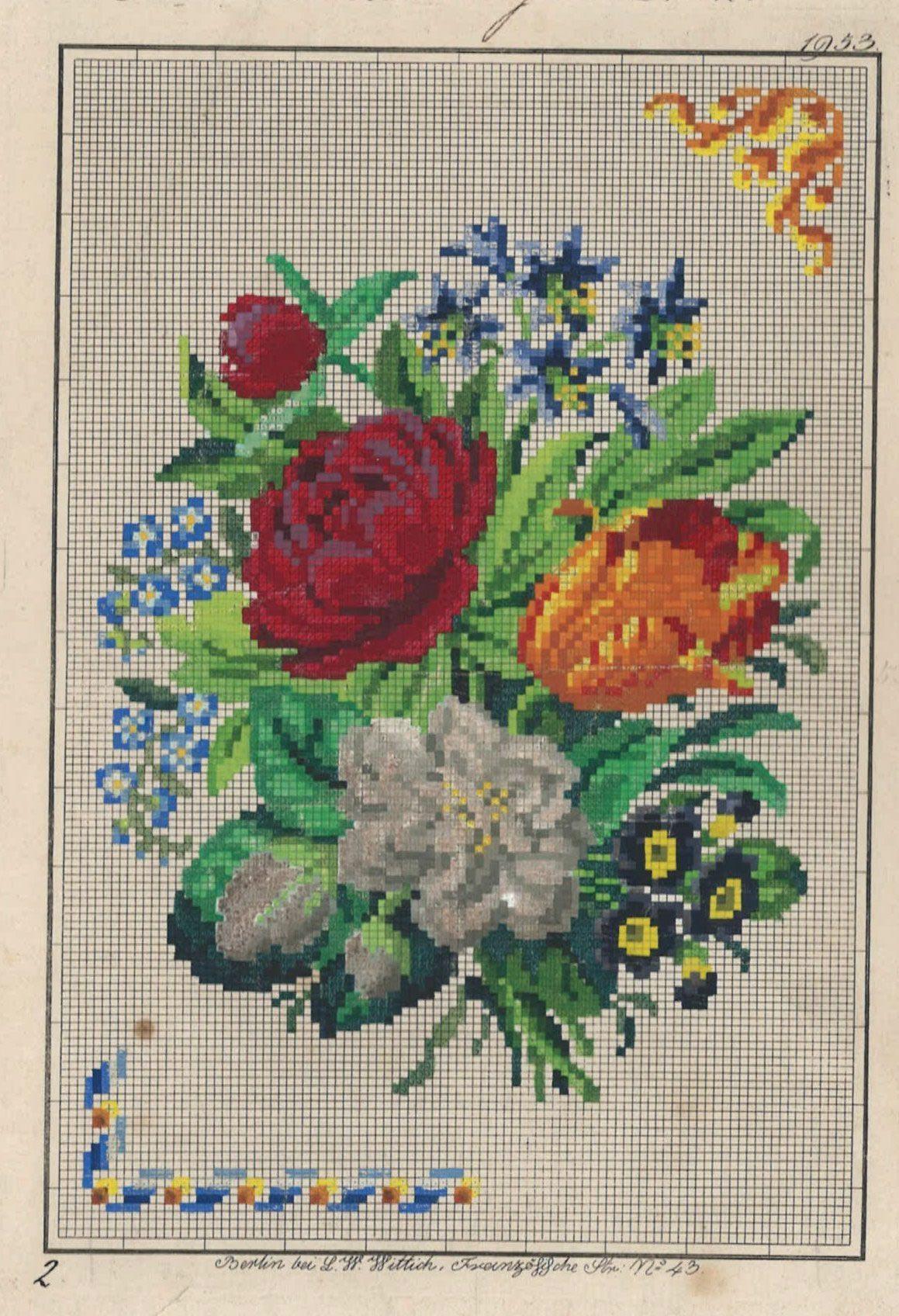 A Lovely Floral Berlin WoolWork Pattern Produced By L W Wittich Berlin