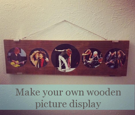 Circular pictures on wood #picture frame #picture display #diy