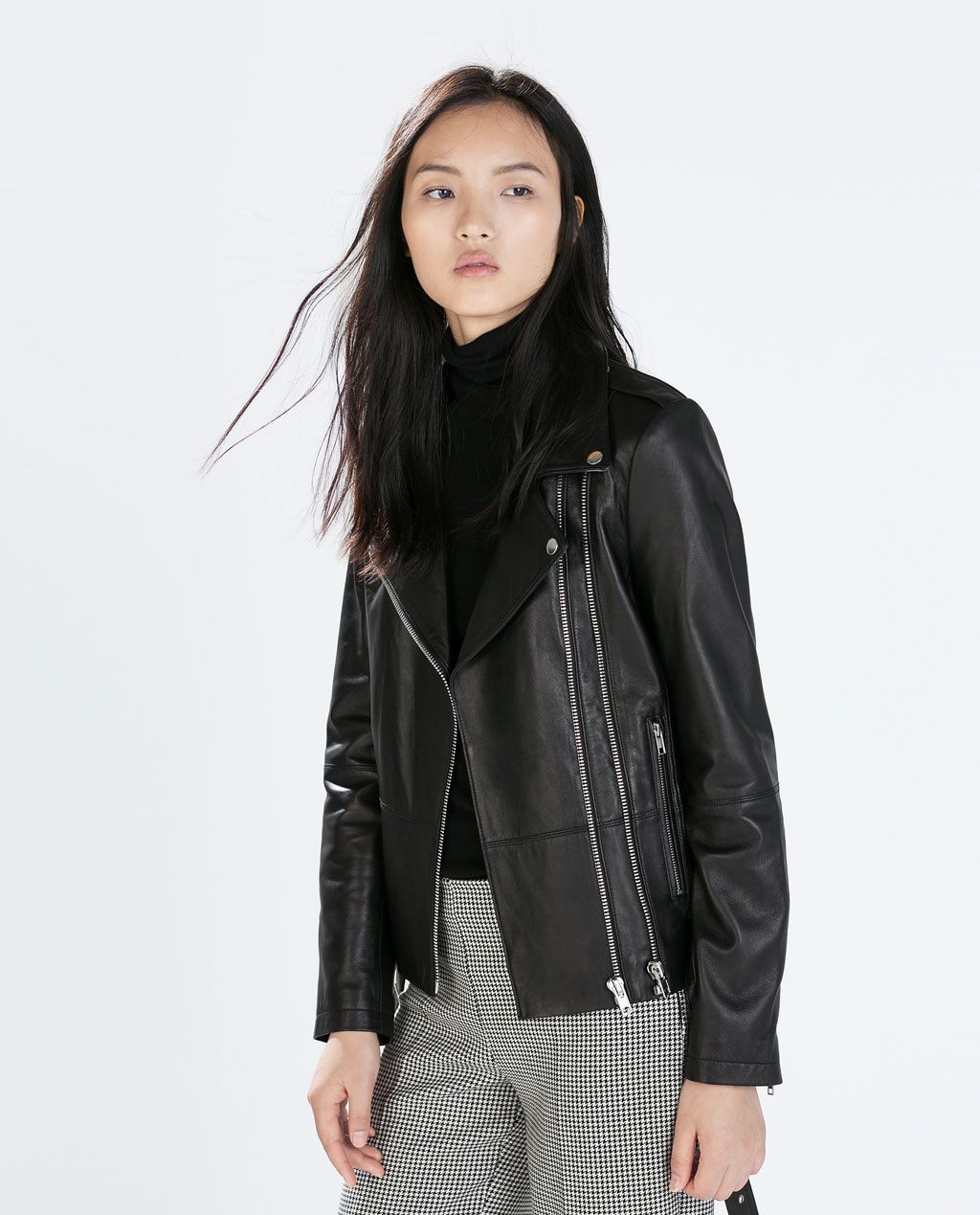 ZARA WOMAN ZIPPED LEATHER BIKER JACKET Real leather