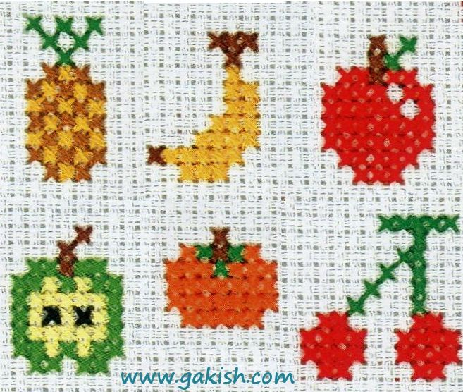 Схемы вышивки для детей, маленькие схемы, фрукты схемы