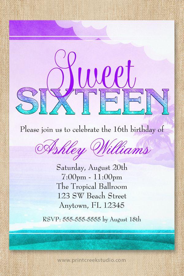 Tropical Sparkle Purple Aqua Sweet 16 Card | Beach sweet 16, Sweet ...