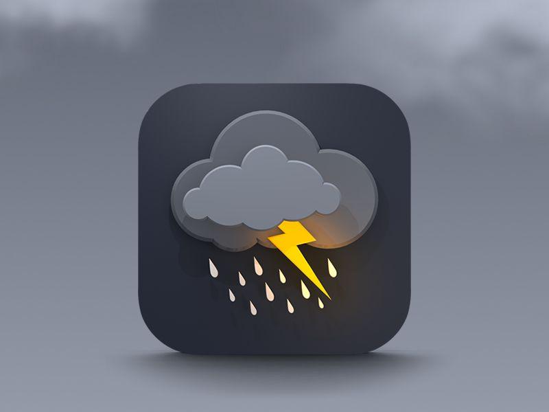 Final weather icon. Creative, The white and Rain