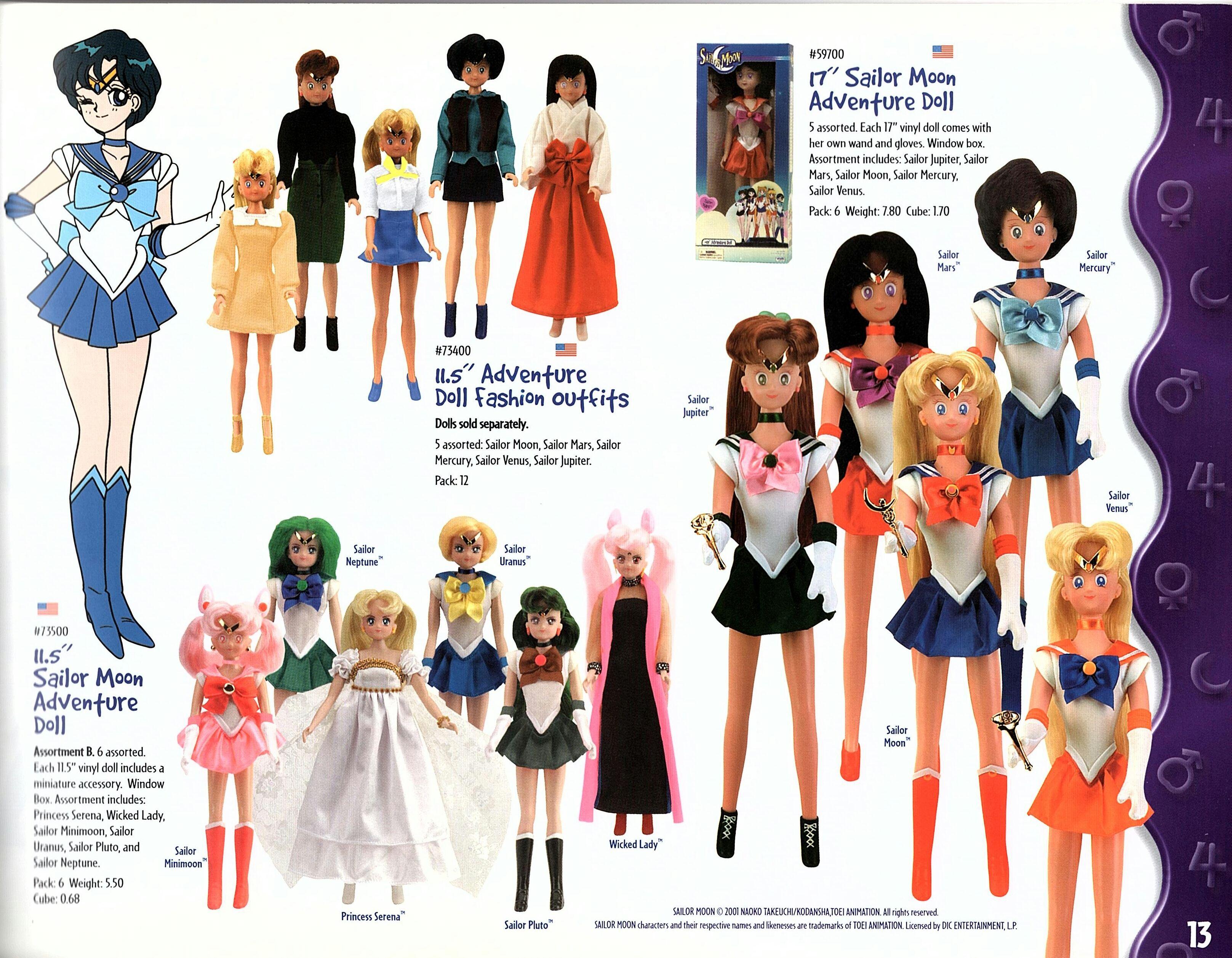 "SAILOR MOON Mercury Mars Jupiter Venus Neptune 11/"" 6/"" Doll Wand Transformation"