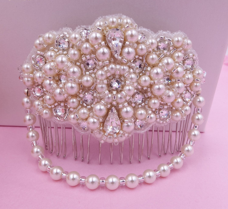 Vintage hair comb Swarovski Pearl and crystal, hand embroidered comb, Bridal sash, hand made sash ribbon bracelet, wedding, bride,   brides, by SophiabeauBridal on Etsy