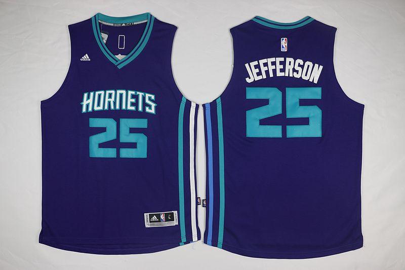New Orleans Hornets  25 Jefferson Purple Men 2017 New Logo NBA Adidas Jersey b2c18a63e