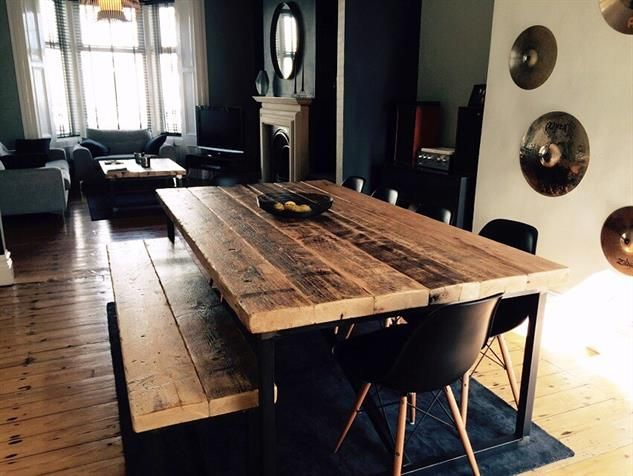 Industrial Mill Style Large Reclaimed Wood Dining Table Benches