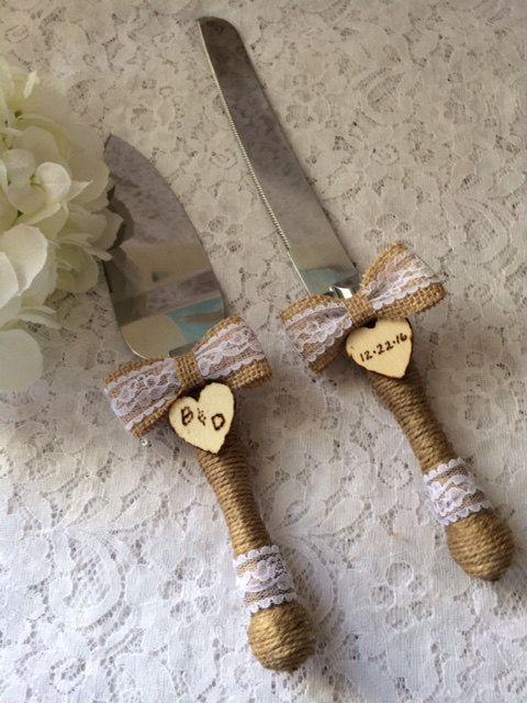 Rustic Cake Knife Set Wedding Accessory Burlap By Therusticcharmer