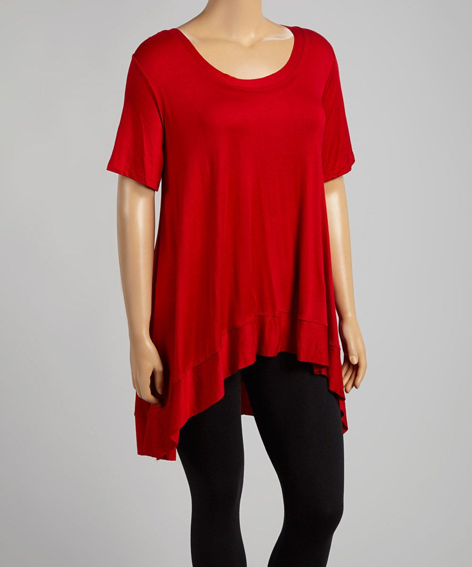 Another great find on #zulily! Red Scoop Neck Tunic - Plus by CANARI #zulilyfinds