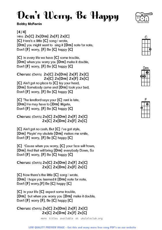 Don\'t Worry Be Happy for Ukulele: | uke | Pinterest | Guitars ...