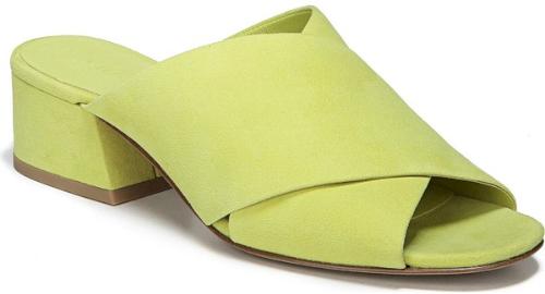 ee52a5d717 Vince Karsen Open Toe Mule in Yellow. Wide crisscross straps add a  retro-cool look to an open-toe mule set on a sharp, modern heel.