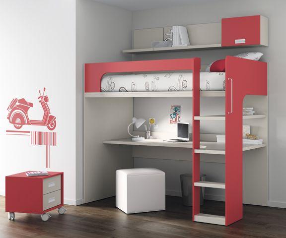 Kids touch 69 litera y escritorio juvenil literas y cama for Cama compacta con escritorio