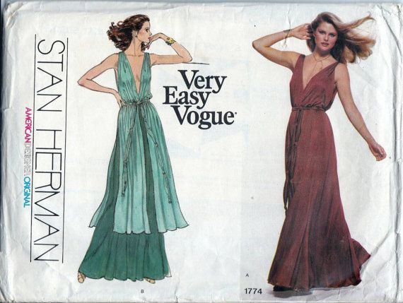 70s Vogue sewing patterns, Very Easy Vogue 1774 Stan Herman, long ...