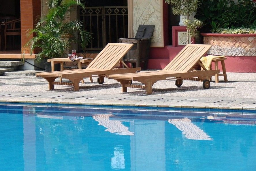A-Grade Teak Wood Premium Steamer Lounger footrest Sun Outdoor Garden Patio New