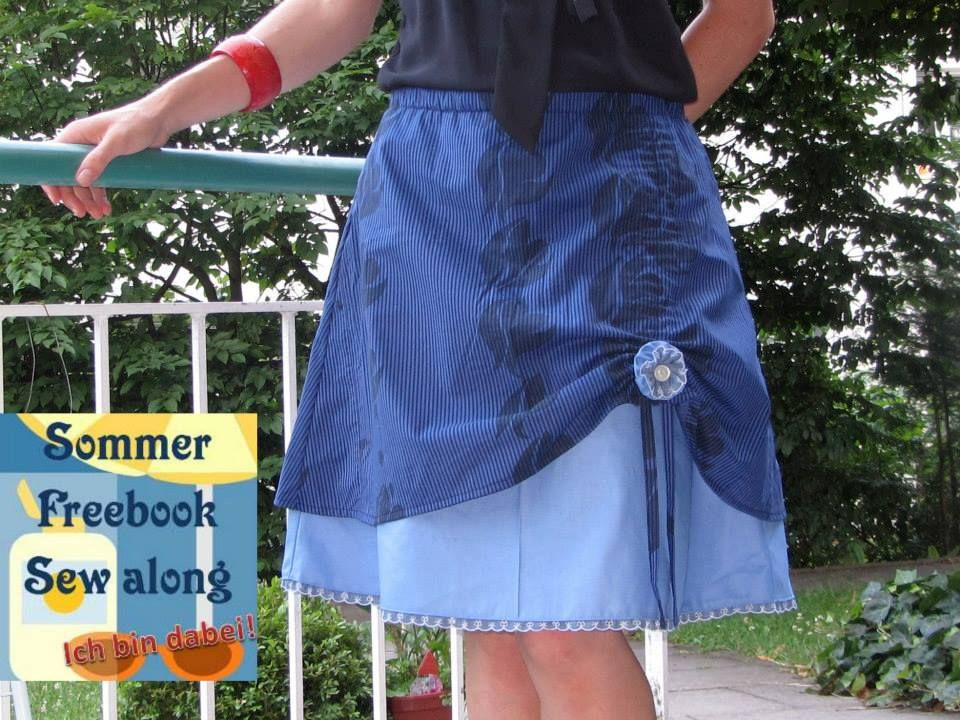 Sommer Freebook Sew along #1 Raffirock von Frau Ollewetter, allerdings mit Gummibund statt Bündchenbund http://ollewetter.blogspot.de/2013/02/raffirock-anleitung-zum-blogjubilaum.html