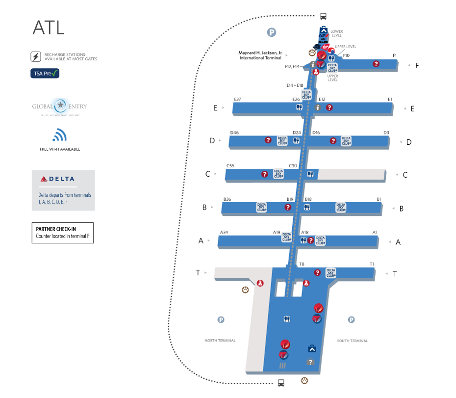 Atlanta Airport Map AJIJIC Pinterest Destinations