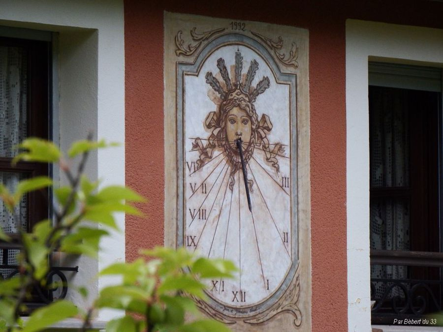Unusual wall mounted sundial, Annot, Alpes de Haute-Provence dept 04.