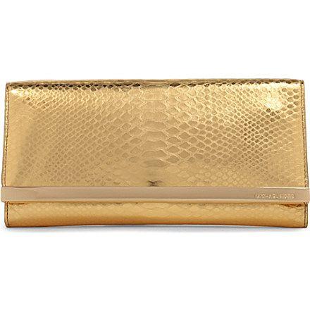 7880129345e2 MICHAEL KORS Tilda python leather clutch (Gold | Gold | Leather ...