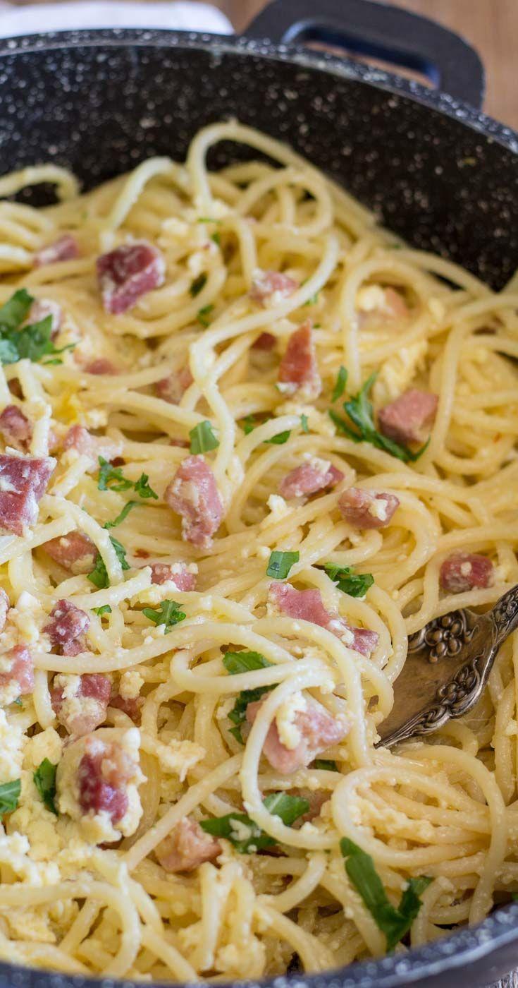 Delicious Pasta Carbonara with Bacon and Garlic - Sober Julie  Delicious Pasta Carbonara