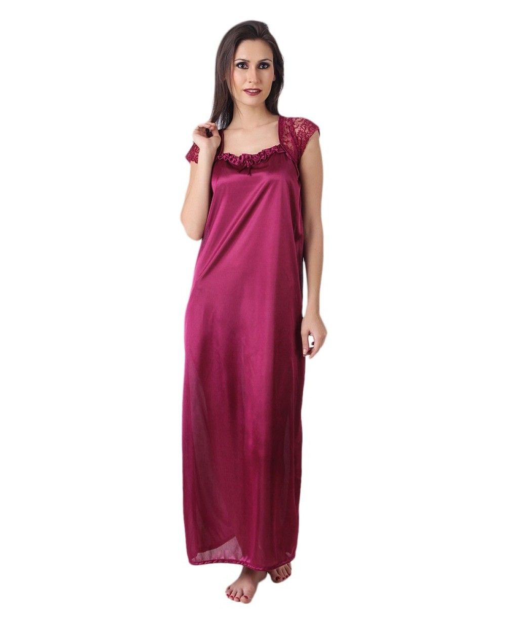 29ae24a1a48 Women Satin Megenta Color One Piece Nighty