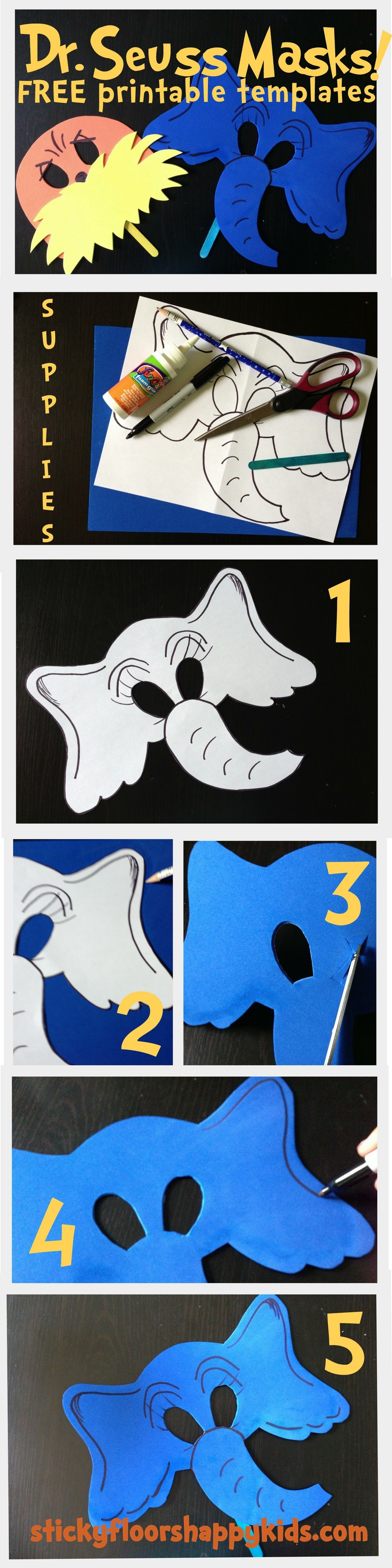 Dr Seuss The Lorax And Horton Masks