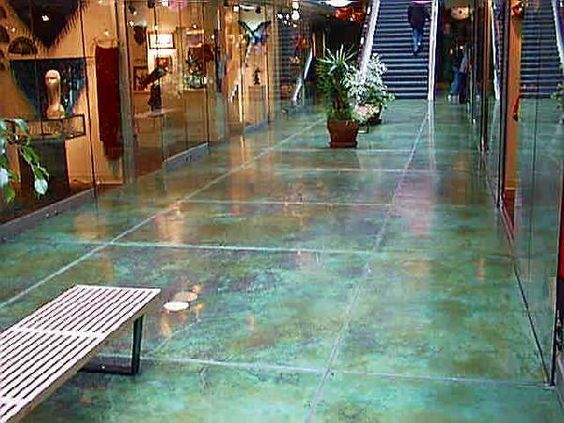 Aqua Blue Stained Concrete Floors Maybe With More Gray