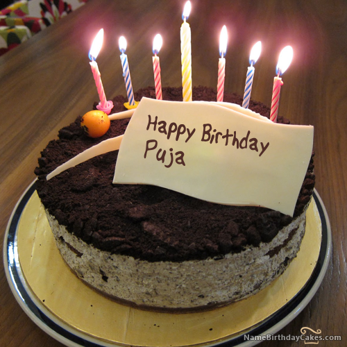 I have written puja Name on Cakes and Wishes on this birthday wish