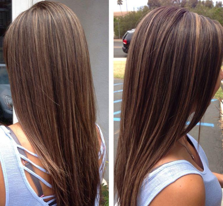 Dunkelbraune Haare Mit Strähnen Aufhellen