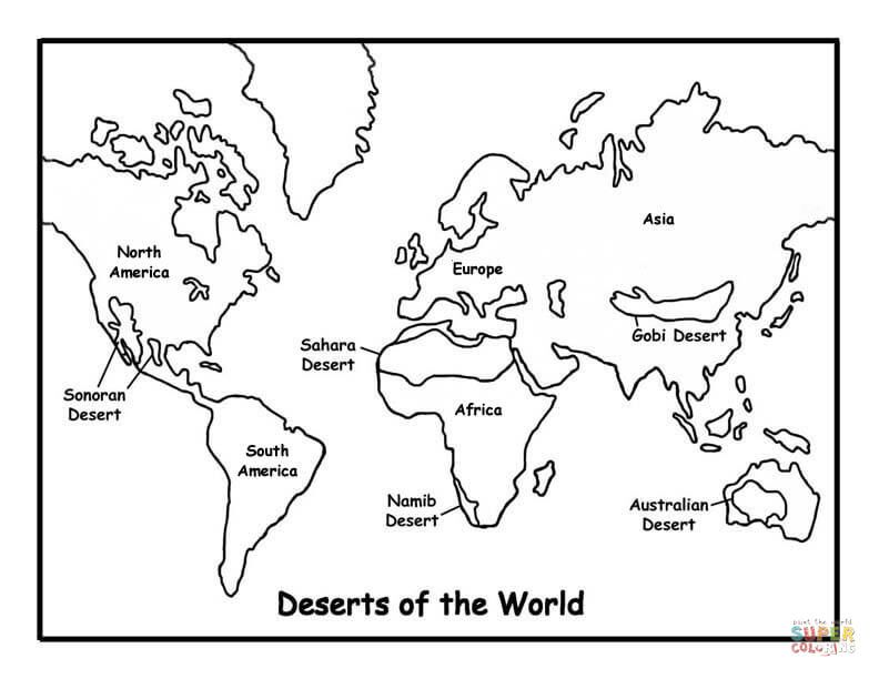 Map Of Deserts Super Coloring World Map Coloring Page Online