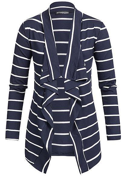 Styleboom Fashion Damen Cardigan Kunstlederpatch Streifen