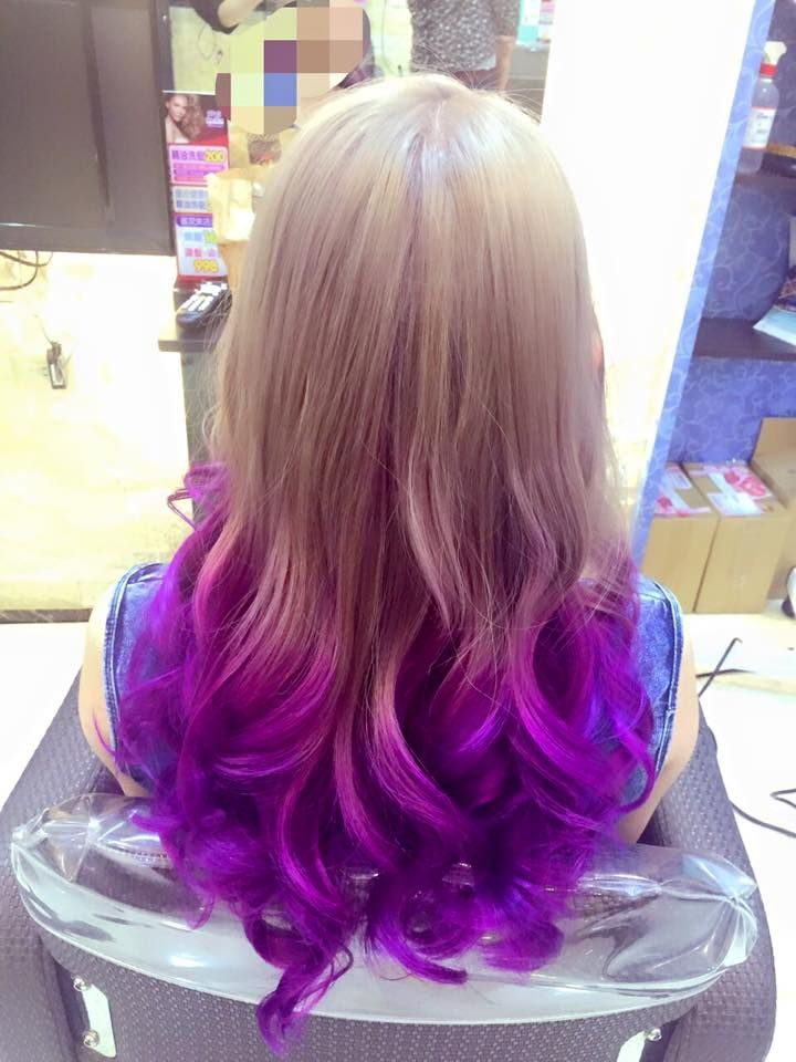 Beige Blonde To Deep Purple Ombre Colored Hair Tips Cool Blonde