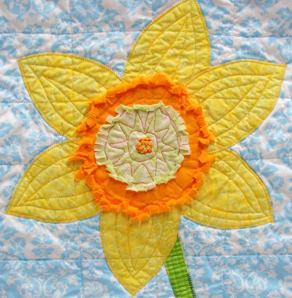 Jonquil wall art quilt in yellow and orange on blue and white ...