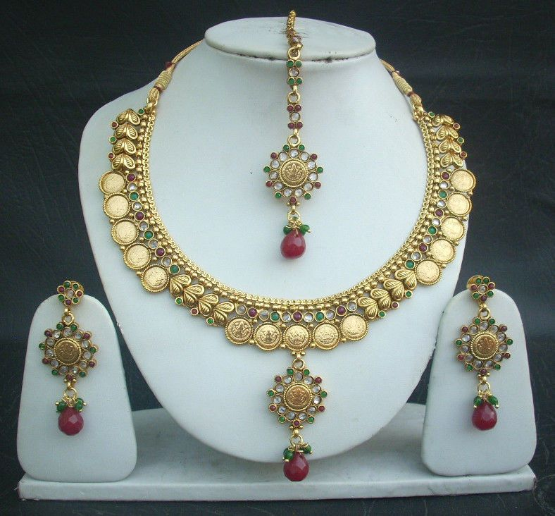 Indian Jewellery And Clothing Polki Necklace Sets From: Necklace Earrings Tikka South Indian Coin Jewelry Polki