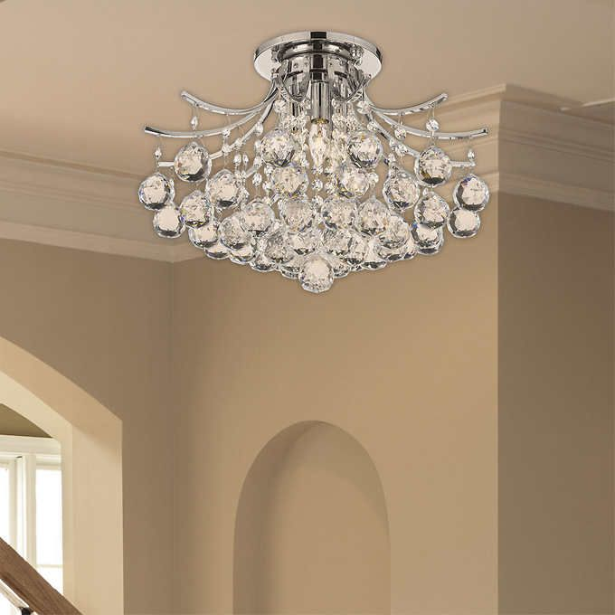 Lighting By Pecaso Contour Flush Mount Chrome Chandelier 10 L X 16 W 12 Lbs Number Of Lights 3