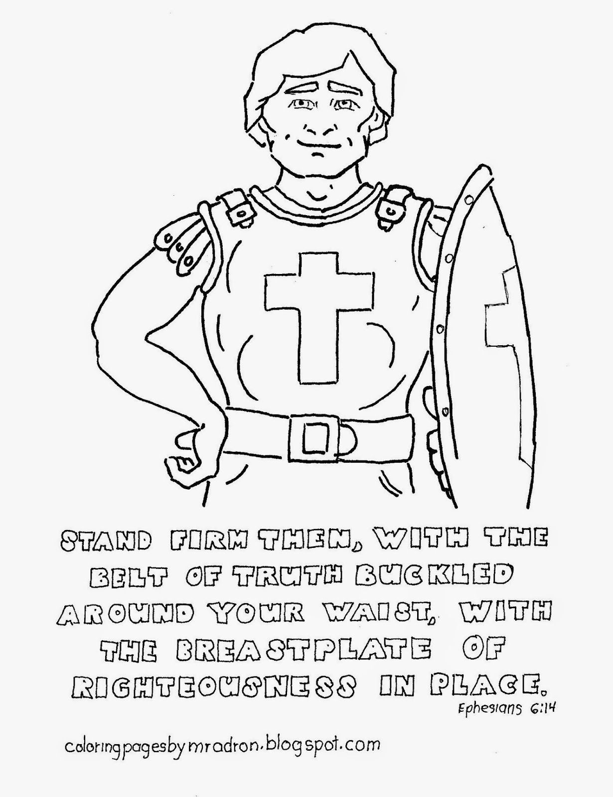 Breastplate Of Righteousness Free Coloring Page With Images