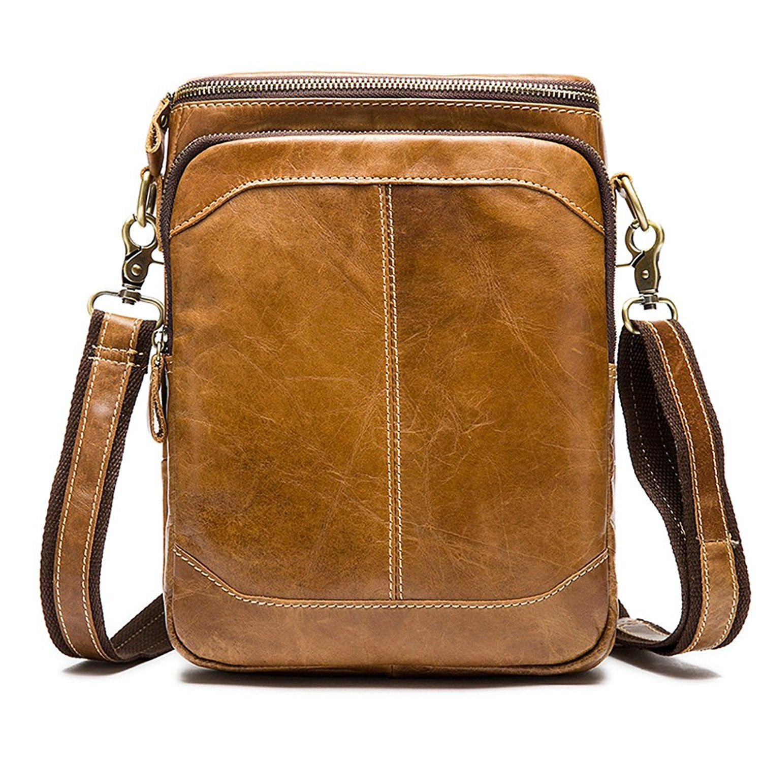 Men/'s New Leather Vintage Small Handbag Casual Travel Cross-body Tote Bag
